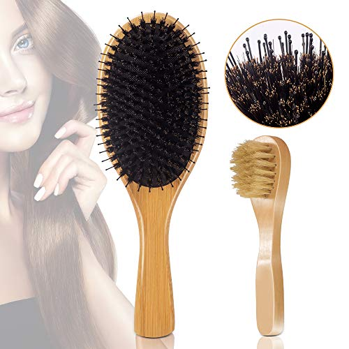 Hair Brush and Face Brush Set Natural Boar Bristle with Detangling Nylon Pins Hair Brush and Face Brush for Men, Women and Kids