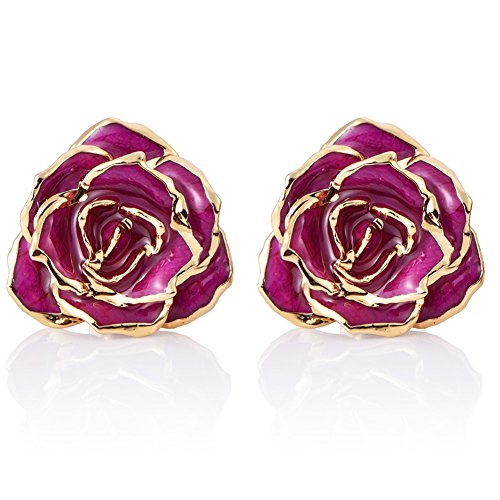 ZJchao Women Flower Stud Earrings Dipped 24K Gold Earring Pins Birthday Gift for Her (purple)