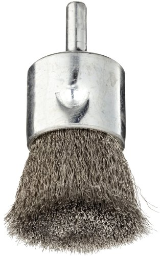 Weiler Wire End Brush, Solid End, Round Shank, Stainless Steel 302, Crimped Wire, 1