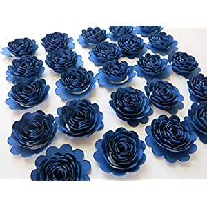 "Navy Blue Carnations, Set of 24, 1.5"" Scalloped Paper Flowers, Small Roses 18"
