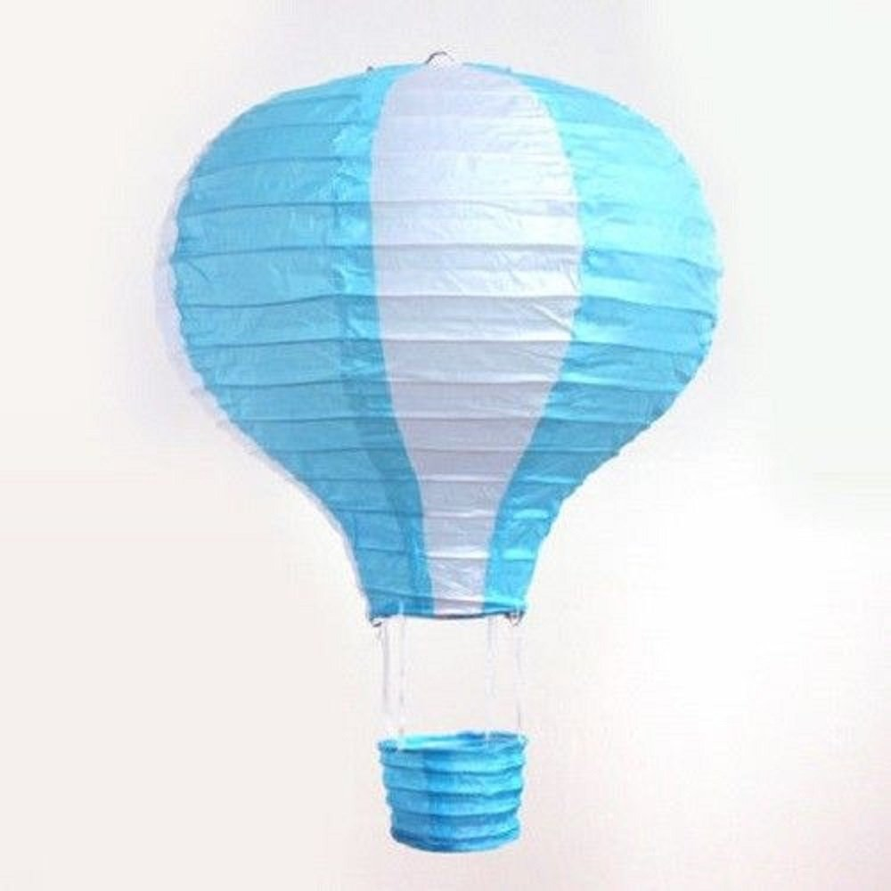 Pack of 3 Stripy Hot Air Balloon Paper Lantern Wedding Party Decoration Craft Lamp Shade (Baby Blue, 16'' (40CM))