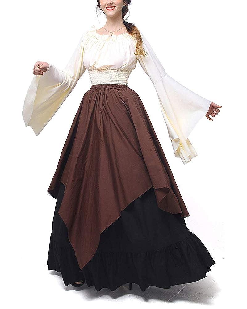 ShiFan Disfraz Trajes Medievales para Mujer Cosplay Disfraces Vestidos De Fiesta Manga Larga Y Hombros Descubiertos: Amazon.es: Ropa y accesorios