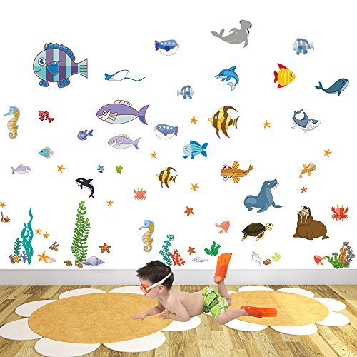IARTTOP Ocean Fish Wall Decal Under The Sea Peel and Stick Wall Art Sticker Decals Tropical Creatures Baby Nursery Decor, 70 Count