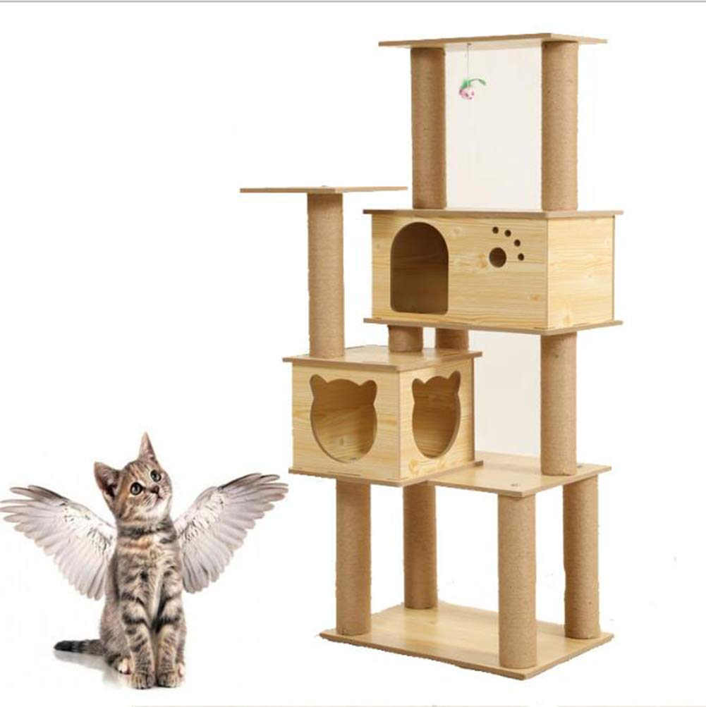 Cat Climbing Frame, pet cat Litter cat Climbing Frame cat Tree Solid Wood Material, sisal Brown Rope Covering150CM