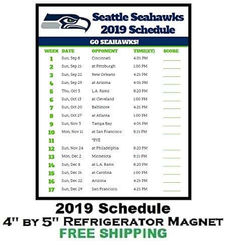 Seattle Seahawks Schedule: Amazon.com: Seattle Seahawks NFL Football 2019 Schedule