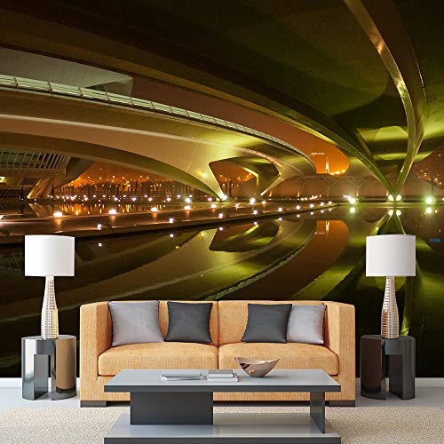 - wall26 - Image of Beautifully Lit Bridges at Night, Valencia, Spain - Removable Wall Mural | Self-Adhesive Large Wallpaper - 66x96 inches