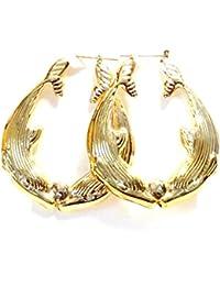Dolphin Hoop Earrings Dolphins Kissing Hoops 2 Inch Earrings Gold Tone Hoop Earrings