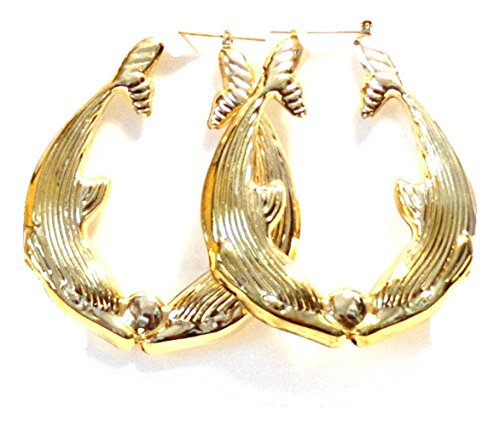 Dolphin Hoop Earrings Dolphins Kissing Hoops 2 Inch Earrings Gold Tone Hoop Earrings (Dolphins Tone Gold Ring)