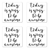 inspiring patio furniture design ideas Lunarable Be Awesome Coaster Set of Four, Black and White Motivating Modern Calligraphy Inspiring Hand-Lettered Quote, Square Hardboard Gloss Coasters for Drinks, Black and White