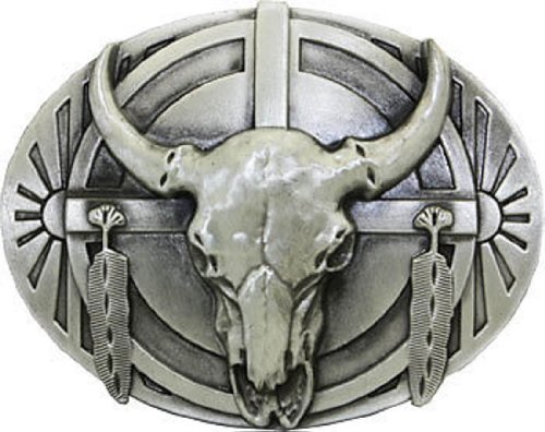 American Eagle Leather Belt (BULL SKULL and FEATHERS BELT BUCKLE Indian Native American western Eagle belt)