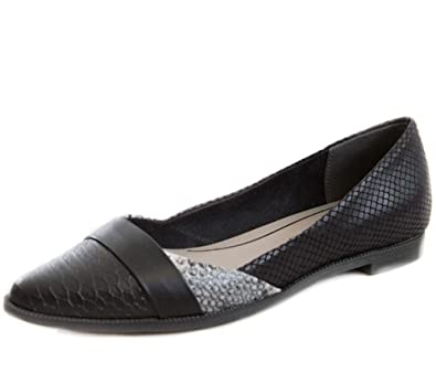 c2fd6ee5ac61 MARCO TOZZI - Huff Black Pointed Toe Snake Print Flat Ballet Pumps Ballerina  Court Shoes Ladies