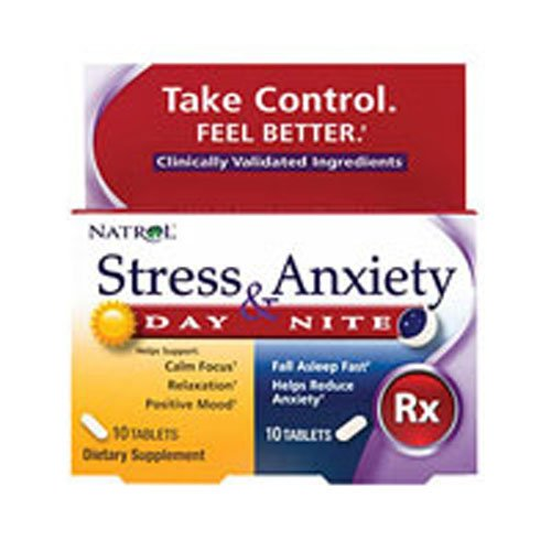Natrol Day and Nite Stress and Anxiety Tablet - 20 per pack - 3 packs per case.