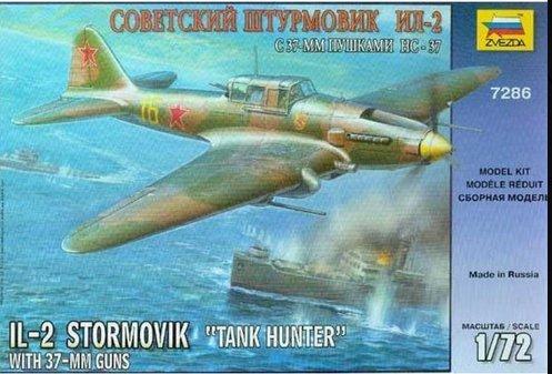 Ilyushin IL-2 gun NS-37 Soviet ground-attack aircraft 1/72 Zvezda 7286