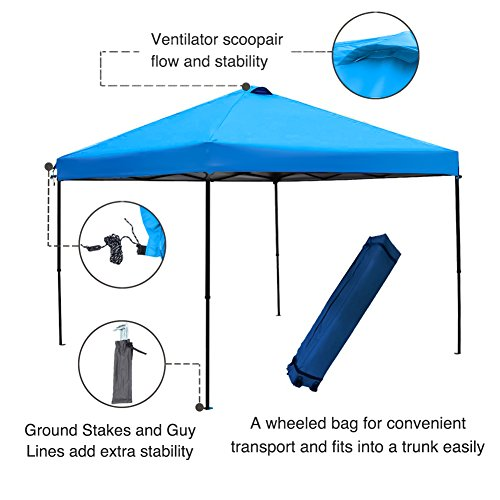 Abba Patio 10 X 10 ft Outdoor Pop Up Canopy Portable Folding Canopy Instant Shelter with Roller Bag, Blue Blue Canopy