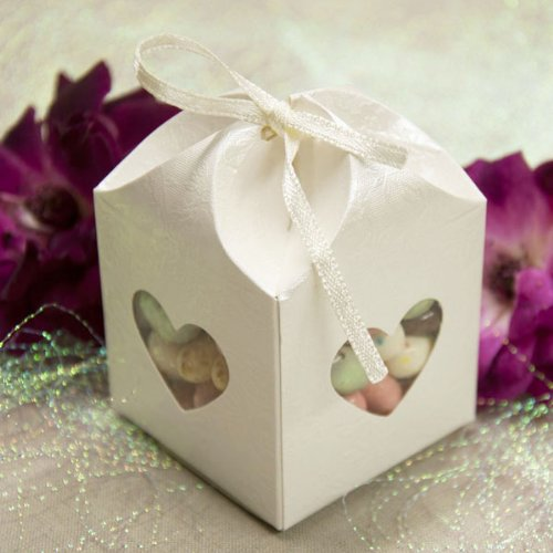 Rose Print Embossed Favor Box w/ Heart Shaped Window and Ribbon (10 Count)