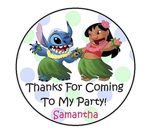 LILO & STITCH PERSONALIZED BIRTHDAY THANK YOU FOR COMING PARTY STICKERS -