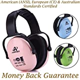 Amplim Hearing Protection Earmuff for Toddlers, Teens and Adults. Noise Cancelling Headphones for Kids. Autism Spectrum Ear Defenders - Airplane, Concert, Outdoor, School - Pink