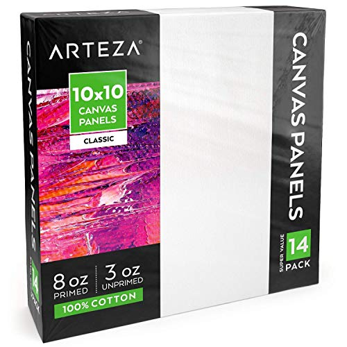 """(Arteza 10x10"""" White Blank Canvas Panels Boards, Bulk Pack of 14, Primed, 100% Cotton for Acrylic Painting, Oil Paint & Wet Art Media, Canvases for Professional Artist, Hobby Painters & Beginners)"""