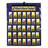 Attendance/Multiuse Pocket Chart, 35 Pockets/Two-Sided Cards, Blue, 30 x 37 1/2, Sold as 1 Each