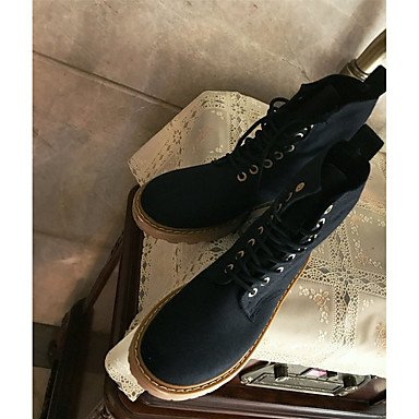 Calf Black Shoes RTRY CN36 Boots Lace Round PU Fashion EU36 Mid up Boots Boots Fall Flat Spring Casual Women's UK4 Heel US6 Toe For HZq5yvqO