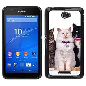 TopCaseStore / la caja del caucho duro de la cubierta de protección de la piel - Nebelung Cats American Longhair Bobtail - Sony Xperia E4