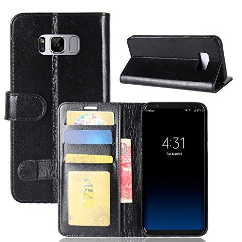 La cubierta de la caja de la cartera del teléfono para Samsung S8 plus. GOGME Samsung S8 plus Flip Funda Funda para Teléfono, Premium PU Cartera de Cuero Conector para Celular, Celular Skin Poche Magn negro