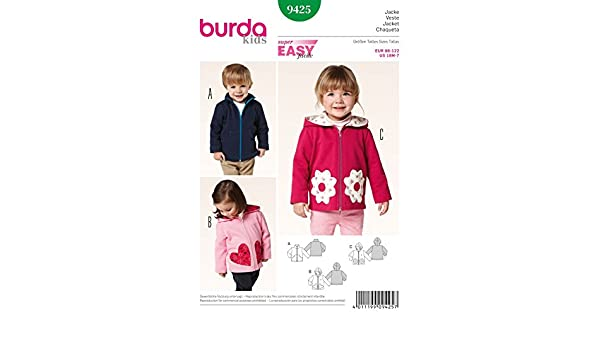 Amazon.com: Burda Childrens Easy Sewing Pattern 9425 Zip Up Jackets in 3 Styles: Home & Kitchen
