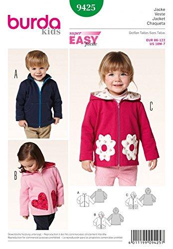 Burda Childrens Easy Sewing Pattern 9425 Zip Up Jackets in 3 Styles