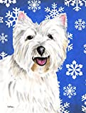Cheap Caroline's Treasures SC9370CHF Westie Winter Snowflakes Holiday Flag Canvas, Large, Multicolor