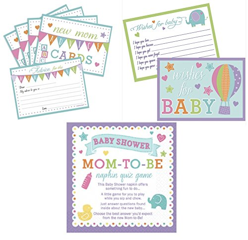 New Mommy Advice Cards, Baby Wish Cards & Napkin Trivia Baby Shower Game (3 Games)