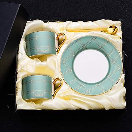 HRDZ Taza y platillo de café de Alta Gama creativos pequeña Taza de agitación de cerámica pequeña Taza de Marca de té de la Tarde pequeña