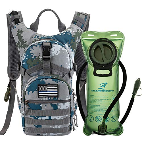 SHARKMOUTH Tactical MOLLE Hydration Pack Backpack 900D with 2L Leak-Proof Water Bladder, Keep Liquids Cool for Up to 4 Hours, Daypack for Hiking, Cycling, Running, Hunting, USA Flag Patch