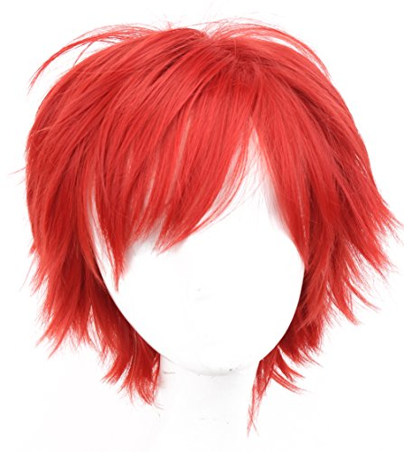 Simpleyourstyle Anime Cosplay Wigs White Red Black Brown Short Heat Resistant Synthetic Full Wigs for Men 30cm 11.8inch 150g (Red) ()