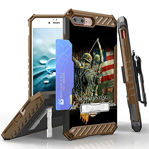 Suitable for iPhone 8 Plus, Suitable for iPhone 7 Plus Case, Trishield Durable Rugged Phone Cover with Detachable Lanyard Loop Belt Clip Holster and Built in Kickstand Card Slot - Bow Hunting