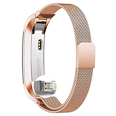 Fitbit Alta Band,Xnucol Magnetic Closure Clasp Mesh Band Milanese Loop Style Stainless Steel Bracelet Strap for Fitbit Alta (RoseGold)