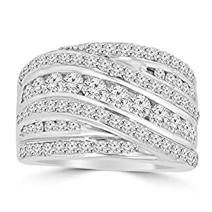 2.10 ct Ladies Round Cut Diamond Anniversary Ring in 14 kt White Gold In Size 7.5