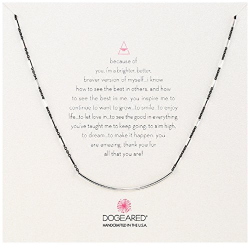 Dogeared Balance Sparkle Bar Sterling Silver/Charcoal Balance Tube Chain Necklace, 16