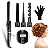 #4: Sexybeauty.u 4 In 1 Curling Wand Set With 4 Interchangeable Barrels LCD Display Fast Heating Ceramic Hair Curler with Heat Resistant Glove