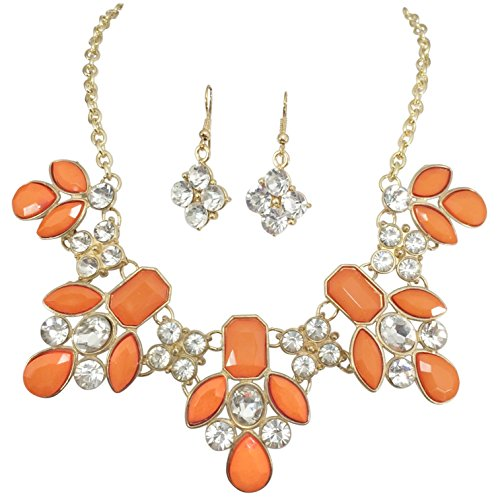 Gypsy Jewels Bright Abstract Bib Statement Boutique Necklace & Earrings Set - Assorted Colors (Bright Orange) ()