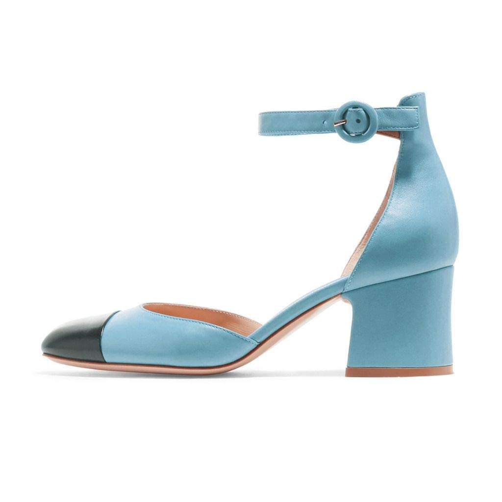 c16b836f88f8a Amazon.com | FSJ Women Ankle Strap Block Heel Pumps Round Toe Shoes ...