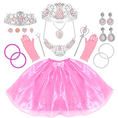 Tagitary Princess Dress Up Jewelry Dress-up Play Toy Set for Girls Jewelry with Crowns, Necklaces, Wands, Rings, Earrings Bracelets and Pink Skirt, 21 Pcs