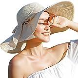 Madehappy Fashion Womens Big Bowknot Straw Hat Floppy Foldable Roll up Beach Cap Sun Hat UPF 50+ Beige