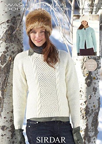 06955c7cc Sirdar Wash n Wear DK Women s Sweater   Cardigan Knitting Pattern 9626   Amazon.co.uk  Kitchen   Home
