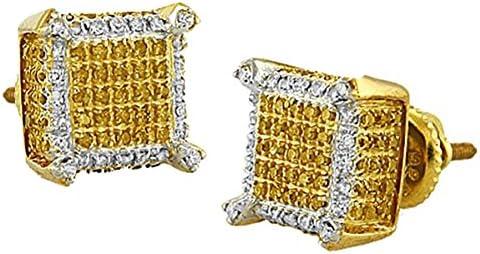 Sterling Silver Dazzlingrock Collection 0.30 Carat ctw Diamond Dice Shape Earring