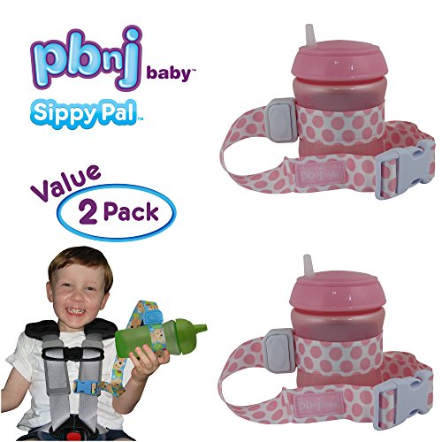PBnJ Baby SippyPal Sippy Cup Holder Strap Leash Tether (Pink Dots 2-Pack)
