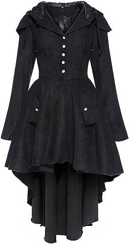 Veste Noire avec Boutons Blancs, Capuche et laçage au Dos