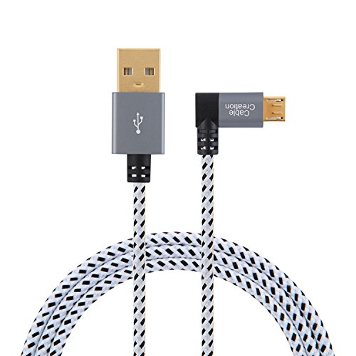 CableCreation 6.5 Feet Right Angle Micro USB 2.0 Braided Cable, 90 Degree Vertical Right USB 2.0 A Male to Micro USB Male with Aluminium Case, 2 Meters, Space Gray
