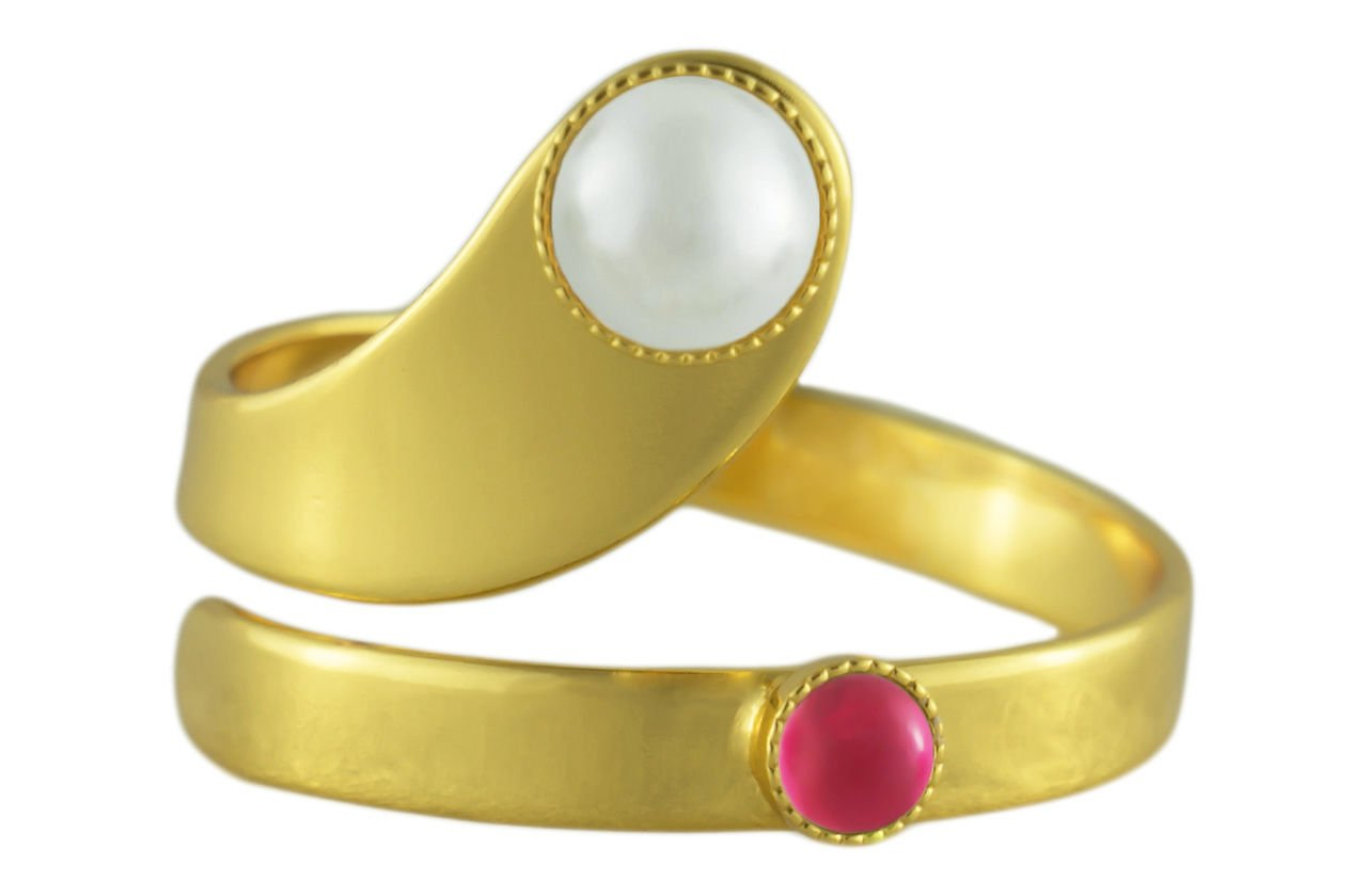 24K Gold Plated Spiral Ring Adjustable Universal Size White Pearl Round Czech Glass Stone Crystal Valentine Pink Rose Handmade BohemStyle