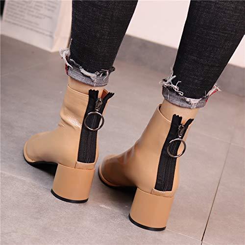 LBTSQ Damenschuhe Farbe Die Dicke Sohle Heel 6 cm cm cm Mit Stiefeln Reißverschluss Weiche Oberfläche Lack Runden Kopf Winter Stiefel 2cef71