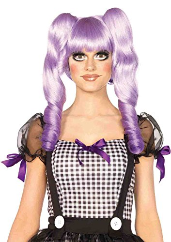 [Dolly Bob Wig With Optional Ringlet Clips Bundle with Pink Shorts] (Purple Dolly Wig)